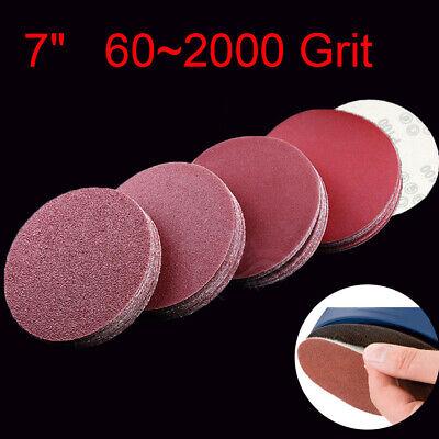 "10//20pcs 7/""//180mm Sanding Discs Sander Pads Hook and Loop Sandpaper 60~2000 Grit"
