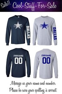 185e6383 Dallas Cowboys Star Football Long Sleeve Shirt with Custom Name and ...