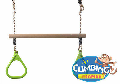 Children's Kid's TRAPEZE BAR with LIME GREEN Gym Rings Climbing Frame Garden