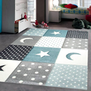 Grey Blue Star Rug Children Kids Boys Bedroom Rugs Soft Thick Woven ...