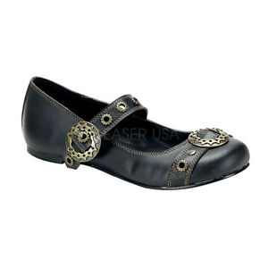 Steampunk-Neo-Victorian-Gothic-Mary-Janes-Flats-Black-Shoes