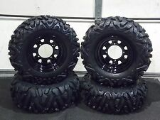 "POLARIS RANGER 25"" QUADKING ATV TIRE- ITP BLACK ATV WHEEL KIT COMPLETE BIGGHORN"