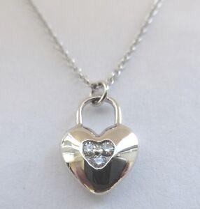 Tiffany co 18k white gold 3 diamond heart lock pendant necklace image is loading tiffany amp co 18k white gold 3 diamond aloadofball Image collections