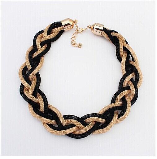 Occident Fashion Punk Weave Hollowed Snake Chain Chunky Choker Bib Necklace