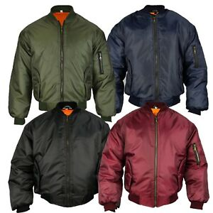 339f25d1dbc Mens Classic MA1 Flyer Bomber Jacket Padded Orange Lining Security ...
