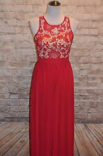 Modcloth Romantic Semantics Dress NWOT S Red illusion neckline pleated skirt