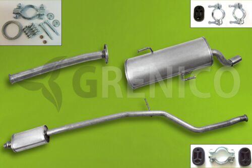 PEUGEOT 206 CC 1.6i 16V 2000-2005 L/'ensemble de silencieux+Kit de montage