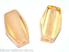 lot de  grosses PERLES tubulaires en acrylique orange pâle transparent paillette