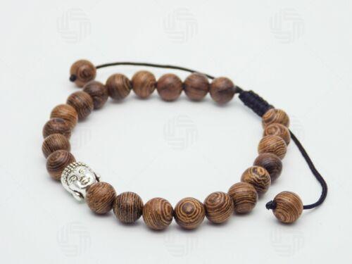 Men Buddha Buddhist Sandalwood Wooden Head Bracelet Reiki Healing Bead Om Aum UK