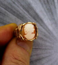 Vintage Antique Cameo Ring in 14kt Rolled Gold  wire wrapped
