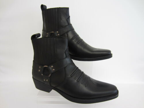 R25A Maverick A3R003 Mens Black Leather Pull On Boots