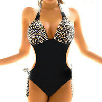 leopard print brown One Piece MONOKINI SWIMWEAR SWIMSUIT UK Size 8 10 12 14