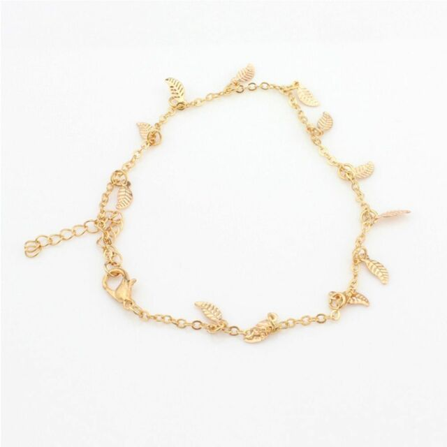 Ankle Bracelet Women Simple Gold Beach Chain Adjustable Anklet Foot Jewelry