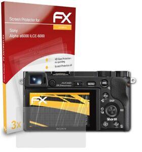 atFoliX 3x Film Protection d'écran pour Sony Alpha a6000 ILCE-6000 mat&antichoc