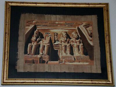 Clever Ägypten Papyrus-bild 30 X 40 Cm ~ Tempel Abu Simbel ~ Glasrahmen Goldfarben Auswahlmaterialien