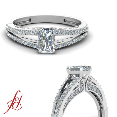 .80 Ct Split Band Pave Set Radiant And Round Diamond Beautiful Engagement Ring
