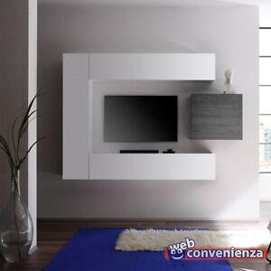 mobile porta tv Cube 1 B Parete Attrezzata Moderna Colore Bianco e ...