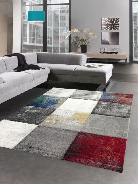 Alfombra moderna alfombra salón diseño cuadros oro amarillo
