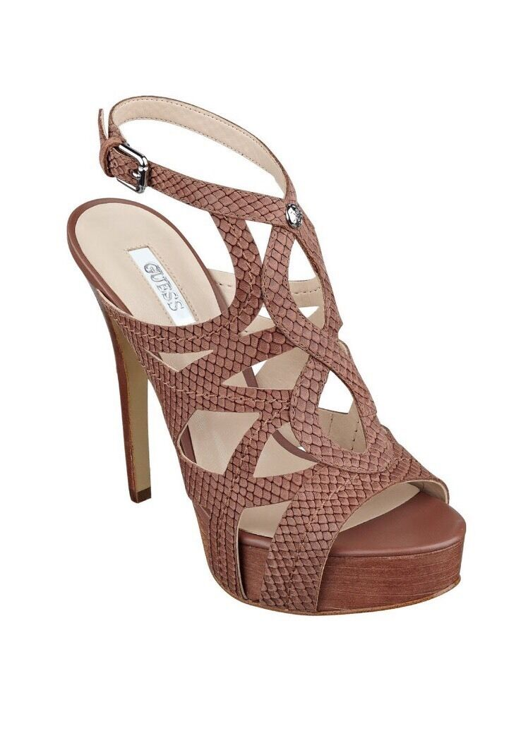 GUESS Kaesy Platform Stiletto Open Toe Dark Brown Buckle Sandals 9.5 Leather New