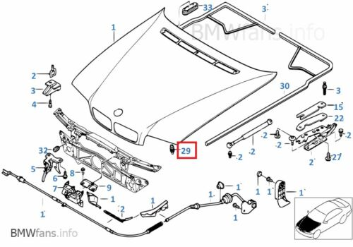 Trunk Lid  51248187291 New BMW E36 E38 Z4 E85 Buffer Stop with Ejector Hood