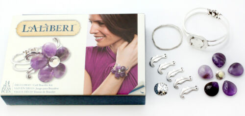 Laliberi Jewelry Kit Sliver Cuff Bracelet Deco Sway Amythest Flower EK Success