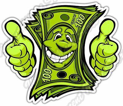 funny dollar money smiley face smile thumb car bumper vinyl sticker rh ebay com Cartoon Money Clip Art Stacks of Money Clip Art