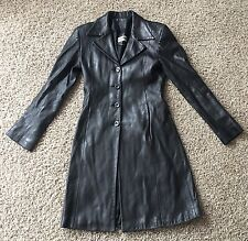 Privilege Paris Butter Soft Black Leather Suede Jacket Coat Trench Size 4 $1200