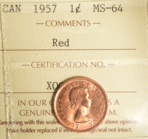 Canada Penny ICCS MS-64 RED Graded 1957