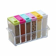 Crystal Seasoning Box Pepper Salt Spice Rack Plastic 6 Masala Box