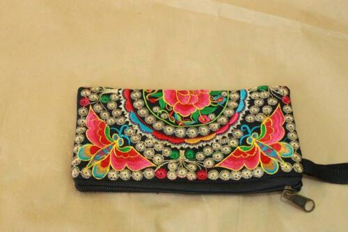 Limited edition of Genuine Embroidered Vintage Tribal BOHO wallet clutch purse