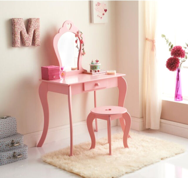 buy popular 8644f 7d0ac Amelia Vanity Set / Dressing Table With Mirror & Stool Children Kids Wooden  Pink