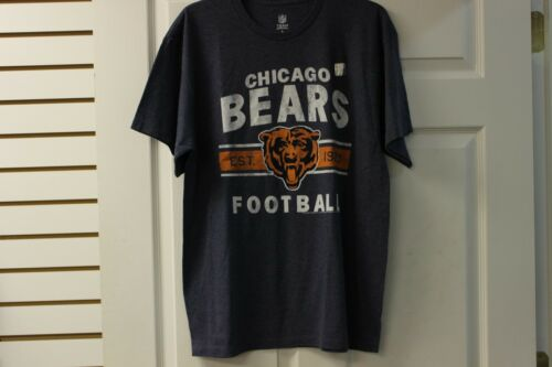Chicago Bears Football Team Apparel T-Shirt Navy With White Lettering Big Logo