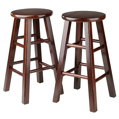 Astonishing Counter Bar Stools Wooden 24 Inch Set 2 Walnut Solid Wood Accent Furniture Chair Ebay Beatyapartments Chair Design Images Beatyapartmentscom