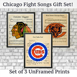 super popular 51795 116a8 Details about Chicago Bears Cubs Blackhawks Sports Logo Vintage Fight Song  Wall Art Decor Gift