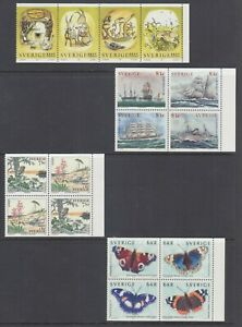 Sweden-Sc-2336a-2342a-2349a-2356-MNH-1999-Booklet-panes-4-different-VF