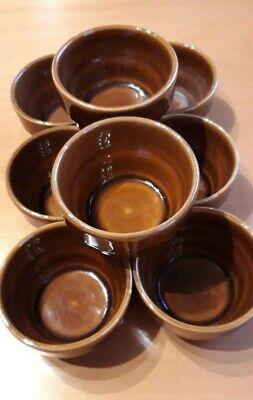 Glasiert- Stapelbar Braun Klug 8 Stück Kleine Schmalztöpfen Steingut