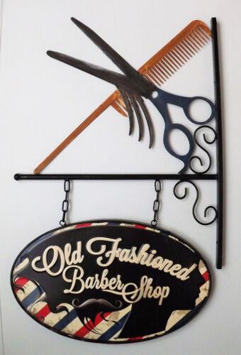 NEUVE Enseigne de décoration en métal de barbier Coiffeur barbe 70 x 46cm