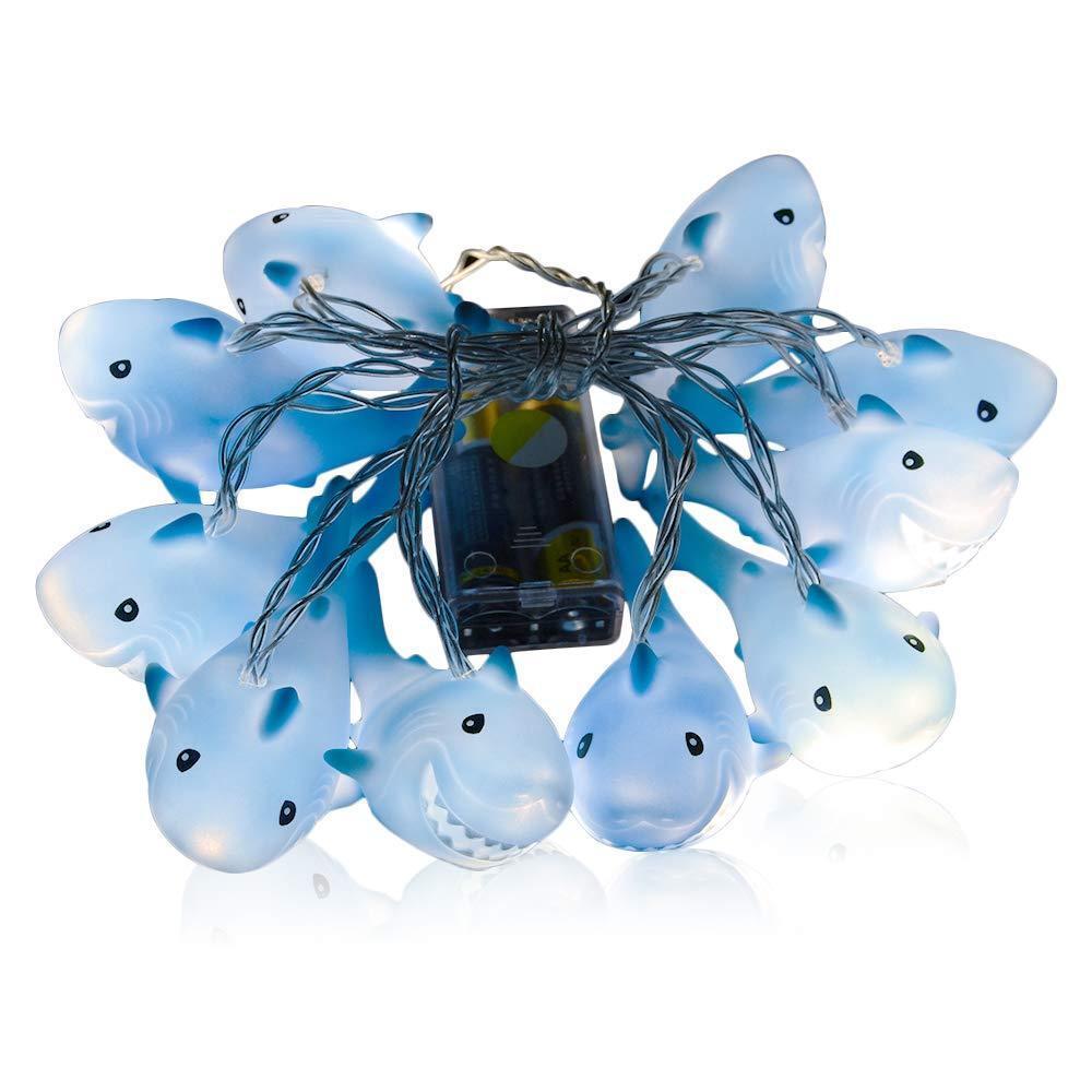 1 Pc Light String Creative Shark Shaped 10 LEDs Decorative Light for Garden