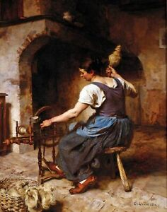 The-Spinner-by-Leon-Augustin-Lhermitte-People-Repro-choose-Canvas-or-Paper