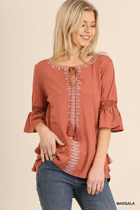 0c25ab97254 Image is loading UMGEE-Bohemian-Chic-Embroidered-Detail-Tassel-Tie-Top-