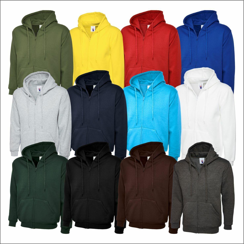 Uneek Mens Classic Full Zip Hooded Sweatshirt Casual Work wear Pullover Hoodie