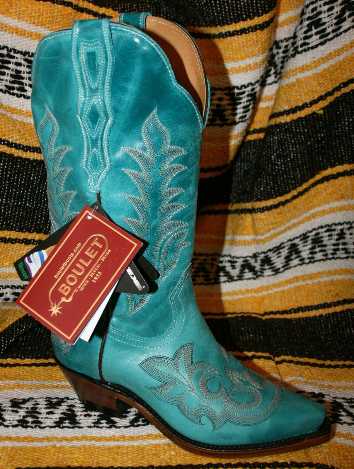 Grandes zapatos con descuento Boots Boulet 3635 bleu turquoise made in CANADA