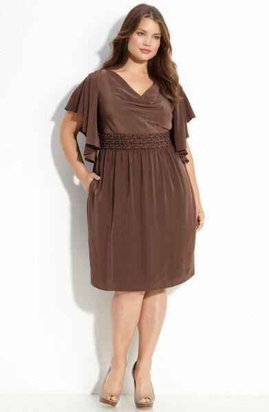 Adrianna Papell Size 10 Brown Flutter Sleeve Dress