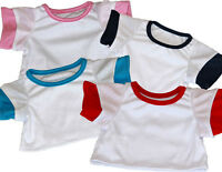 White T-shirt With Red Navy Turquoise Or Pink Sleeves Fits 15 Build A Bear