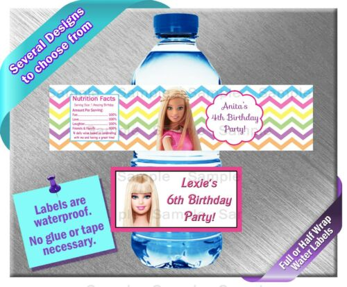 Barbie ~ Water Bottle Labels ~ Birthday Party Baby Shower