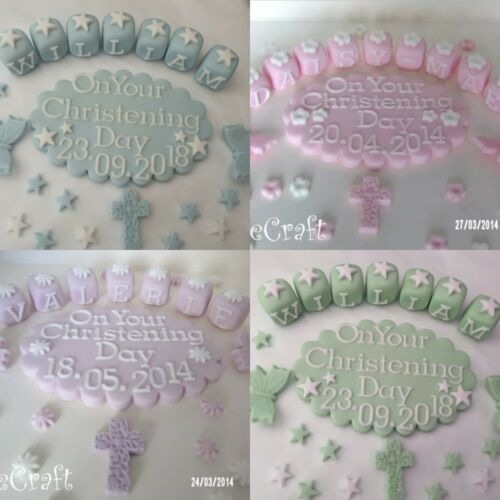 Christening Baptism custommade plaque Edible Handmade cake decorations toppers