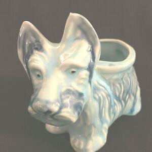 Vintage Majolica Style Scottie Ceramic Blue Dog Planter Japan