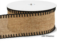10 Yards Natural Burlap Ribbon W/black Blanket Stitched Edges 2 1/2 Wide