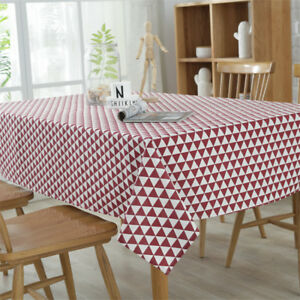 Details about Tablecloth Cotton Linen Triangle Cotton Fabric Rectangle  Kitchen Table Cover New