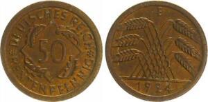50 Pfennig J.310 1924 E Currency Coin, Prägefrisch-st Beautiful Tint